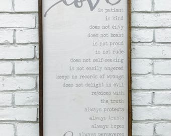 Love is patient love is kind, 1 Corinthians 13 sign, Bible Verse Corinthians, Faith Hope Love, Love Never Fails, barn wood sign