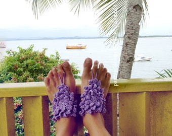 Barefoot Sandals Crochet Pattern PDF- Namaste Floral summer bikini sandles accessories - Instant Download
