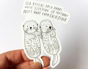 Sea Otter Sticker, Sea Otter Drawing, Sea Otter Holding Hands, Vinyl Sticker, Sea Otter Line Drawing, Valentine's Day Gift Idea
