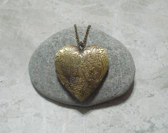 Large Heart Locket Necklace Pendant Antique Bronze