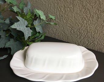 Pfaltzgraff White Butter Dish Stoneware Wide Quarter Pound Lb Stick Covered - #J4001