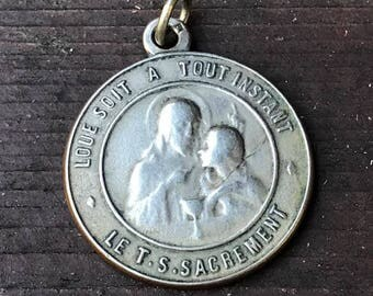 Vintage Holy Communion with Jesus & Saint John the Baptist Silver French Religious Medal 1560-1910 on 18 inch sterling silver rolo chain