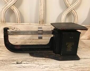 Antique Rustic Balance Scale - 4 Pound Vintage Scale - Vintage Candy Scale