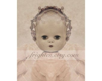 Vintage Doll Photography Print, Creepy Cute 8.5 x 11 Inch Print, Pale Pink Unusual Wall Art, Doll Wall Art Print