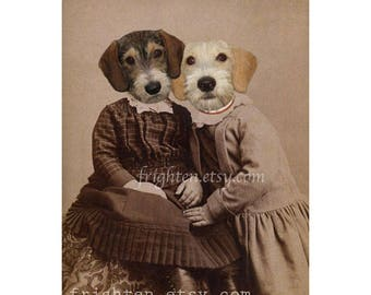 Dog Art Print Animals in Clothes Sisters Art Dogs in Dress Anthropomorphic 5x7 or 8x10 Inch Small Wall Decor