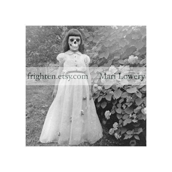 Creepy Halloween Wall Art Print, Black and White Skeleton Girl with Skull Face Macabre Halloween Decor