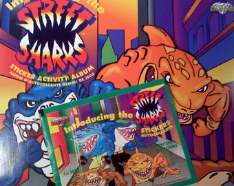 Street Sharks Sticker Album and ONE Packet of Stickers