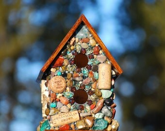 Blue Mosaic Birdhouse and Outdoor garden decor.Mosaic Garden Art thats Eco Friendly perfect gift for nature lover and wine lover.Mothers day