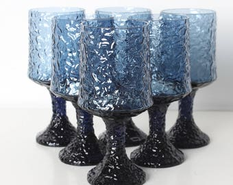 Vintage Hand Blown Lenox Crystal Blue Impromptu Crinkle Goblets Large Wine Glasses Set of 6