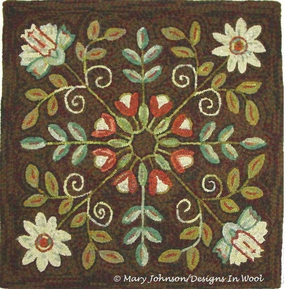 "Rug Hooking PATTERN, Four Square Floral 40"" x 40"", P123, Primitive Rug Hooking Floral Design, Wide Cut Hooking"