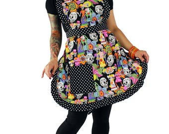 Retro Apron  1950's Vintage Inspired Day of The Dead  Skull Apron Free Shipping