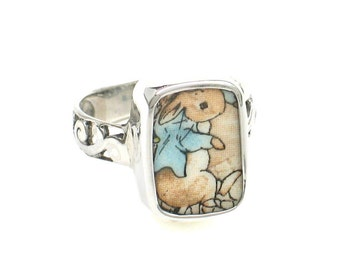 Size 9 Broken China Jewelry Beatrix Potter Peter Rabbit in Blue Jacket Sterling Ring