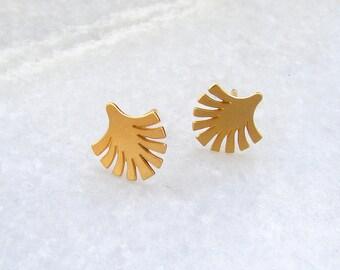Tiny Gold Ear Studs - Palm Leaf Earrings, Small Earrings, Gold Stud Earrings, Leaf Earrings, Tiny Earrings, Minimalist Earrings