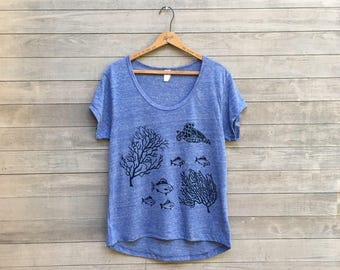 The Seaside Tee, Turtle Shirt, Yoga Tee, Oversized Tee, Beach Tee, S,M,L,XL