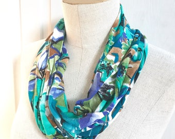 SALE Stretch Jersey Infinity Scarf. Cool Tropical Print. Ready to Ship.