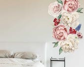 Peony Flowers 2 Vinyl Wall Sticker- Peel and Stick Wall Art, Floral Wall Decal, Living Room Wall Decors, Baby Nursery Stickers prt0112-1
