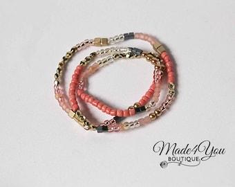 Coral Gold Wrap Bracelet - Gold Blush Black Coral Stretch Bracelet - Triple Wrap Bracelet