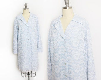 Vintage 1960s Dress - Baby Blue Lace Rhinestone Shift Shirt Dress Long Sleeve 60s - Large L