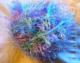 Himalaya long eyelash glitter yarn. Multocolor eyelash yarn. Blue and purple. Faux fur yarn. Fun Fur yarn. Sparkle eyelash Grass Rug Yarn Eq