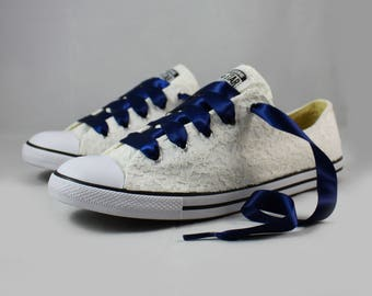 Ivory Lace Wedding Converse -Ivory Lace and Navy Bridal Converses --Navy Converse -- Wedding Tennis shoes