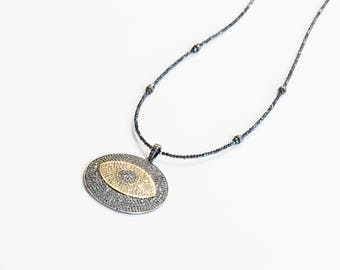Removable Large Pave Diamond Evil Eye Medallion Pendant and Spacer Beads Necklace on Tiny Faceted Black Spinel Gemstone Beads