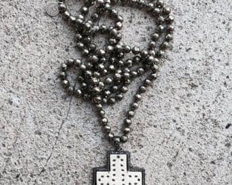 Diamond Pave Bone Cross, Pyrite Beaded Necklace, oxidized Sterling Silver, Faceted Knotted Pyrite Necklace