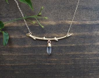Twig and Crystal Quartz Necklace - Minimalist Jewelry - Boho Necklace - Gemstone Jewelry - Layering Necklace - Statement Jewelry