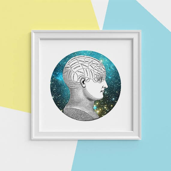 Cosmic thinking Print wall art Human anatomy print Science student gift Cosmic art print Universe and galaxy prints SKA226SQ1