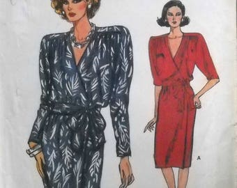 Very Easy Very Vogue 9775 Dress Pattern Size 14, 16, 18, Factory Folded Uncut, Vintage 1986, Sewing Pattern