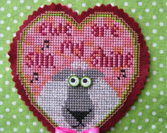FREE gift w/pre-order VAL'S STUFF Ewe are My Sunshine Kit counted cross stitch patterns at thecottageneedle.com Valentine's Day