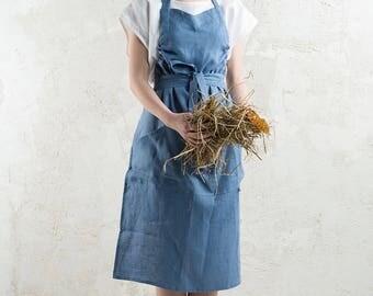 Linen apron, Blue apron, Long apron, Full linen apron, Serenity blue linen apron, Unisex apron, Natural linen aprons