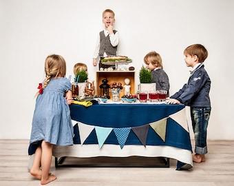 Natural linen tablecloth, Indigo tablecloth, Rectangle tablecloth, Square tablecloths, Dark blue tablecloth, Blue linen tablecloth