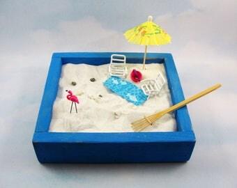 miniature zen beach garden kit, miniature white beach chairs, beach towel, seagull