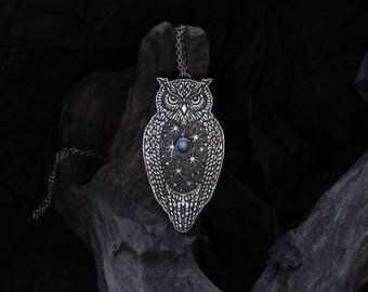 Owl Necklace - Eagle Owl Pendant - Silver Owl Necklace - Wisdom Necklace - Moonstone Necklace - Star Necklace - Starry sky necklace - Summer