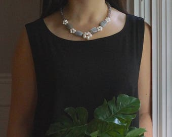 Set: Gemstone beaded necklace & earrings - Gray opal