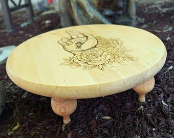 15 inch wood burned meditation table or altar