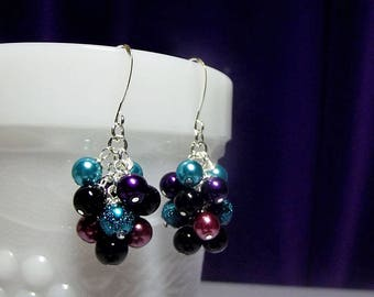 Violet Blue Teal Black Purple Rose Pearl Cluster Earrings, Christmas Mom Sister Birthday Wife Mothers Day Bridesmaid Aunt Gift