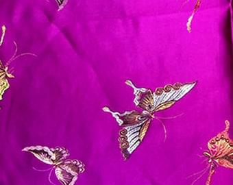 Butterfly Fabric - Purple Fabric - Brocade Fabric - Insect Fabric - Purple - Japanese Fabric - Butterflies - Nylon - Polyester - Yard