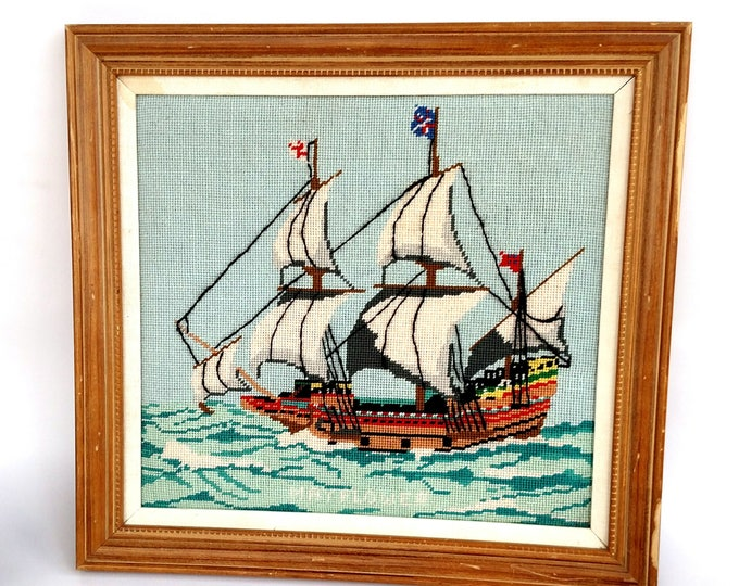 Vintage 1960's Needlepoint Mayflower Ship Nautical Americana Embroidery