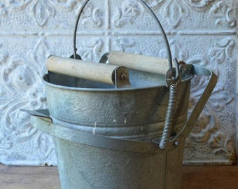 Old Shabby Vintage Galvanized Mop Bucket, Industrial Metal Decor