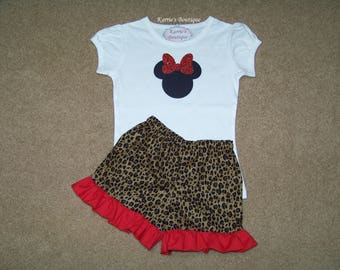 Minnie Mouse Outfit / Ruffle Shorts + Shirt / Cheetah & Red / Glitter / Disney / Birthday / Newborn / Infant / Baby/ Girl/ Toddler/ Boutique