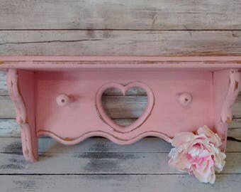 Small Pink Wooden Shelf, Girl's Bedroom and Nursery Wall Decor, Shabby Cottage, French Market, Savannah's Cottage