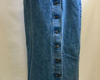 RETRO 90's Long Jean Skirt with Side Slit and Buttons