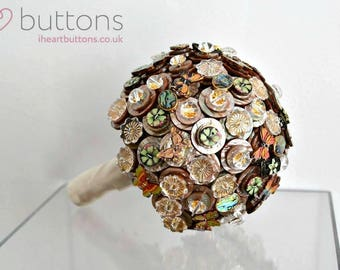 Ready Made Shimmering Brown/Green & Gold Button Bouquet with Butterflies