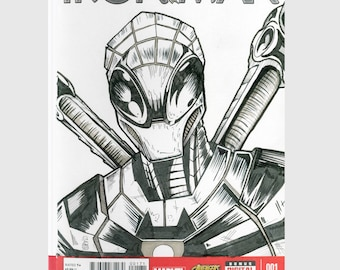 Superior Iron Man / Spider Man / Sketch Cover / Variant Cover / Hand Painted Comic Book / Hand Drawn / Original Art / Pen and Ink / Markers