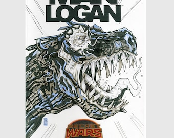 Old Man Logan  / Logan / Sketch Cover / Variant Cover / Hand Painted Comic Book / Hand Drawn / Original Art / Pen and Ink / Markers