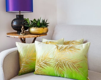 Silk Cushion, Kimono Pillow in Green Silk, Gold Accent Cushion, Pine Tree, Ombre Pillow, Luxury Home Decor, Upcycled Japanese Obi, Exclusive