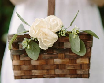 Flower Girl Basket | Rustic Flower Basket | Brown Rectangle Wedding Basket | Wood Card Basket | Ivory Floral | Garden Wedding