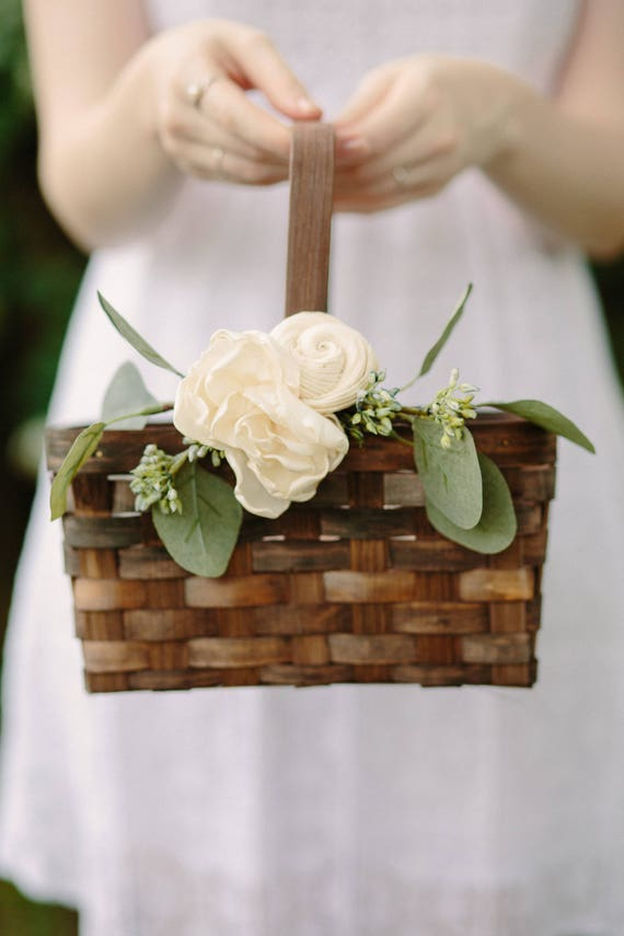 flower basket for wedding flower basket rustic flower basket brown rectangle 4132