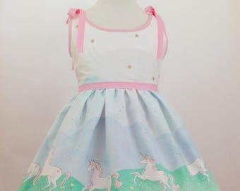 Girl's Unicorn Parade Sundress, Vintage Style, Summer Sundress